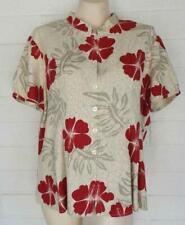 Hilo Hattie XL hibiscus mandarin collar Hawaiian short sleeve silk blouse