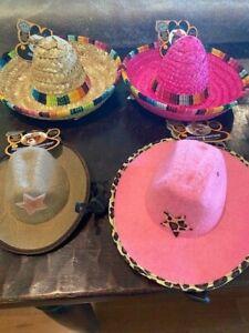 LOT OF 4 Rubies Pet Shop dog hats sombrero cowboy cowgirl pink cheetah M/L & S/M