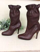 Womens Cole Haan Nike Air High Heel Boots Brown Leather size 7 1/2 B