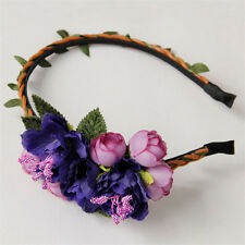 Purple Gothic Girls Hairband Bridal Flower Headband Garland Hair Hoop Band Party