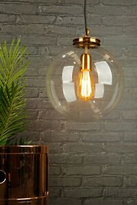 CLEAR GLASS GLOBE PENDANT CEILING LIGHT WITH BRASS GALLERY
