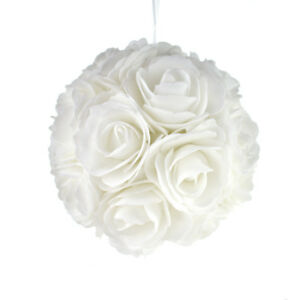 Soft Touch Rose Addie Ball Wedding Centerpiece, White, 7-1/2-Inch