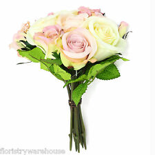Artificial Vintage Style Rose Bouquet 12 Flowers Pink and Cream 25cm/10 inches