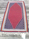 Vtg Turkish KILIM 3 x 6 ft. Hand Woven Wool Reversible Area Rug Red Blue
