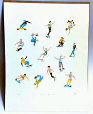 "Skate Skating Signed Art Silk Screen Limited Ed. Print  ""Dudes at The Park""  New"