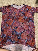 Lularoe Irma tunic Shirt XS navy blue purple pink orange red floral Pixel