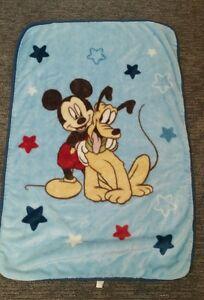 "Disney Mickey Mouse Pluto Dog Blue Acrylic Baby Blanket Stars 30x45"" HTF"