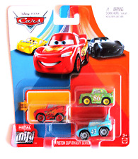 DISNEY PIXAR CARS MINI RACERS LIGHTNING MCQUEEN KING CHICK 3 PACK