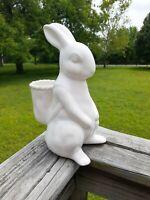 Rae Dunn Magenta HOP Bunny Easter Rabbit Basket On Back Vase 2020 White Ceramic