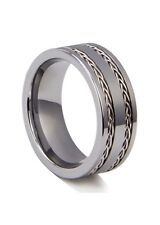 Men's Tungsten Carbide Wedding Band Ring 8mm with Stainless Steel Cable Inlay
