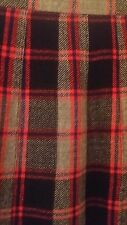 Vintage Burberrys Pleated Skirt Sz 8- 10 Gray/Red Made In Scotland 100% Wool