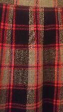 Burberrys Women Pleated Skirt Sz 10 Gray/Red Made In Scotland 100% Wool