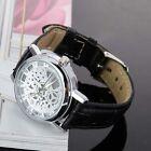 New Mens Roman Dial Skeleton Steampunk Mechanical Leather Sport Wrist Watch