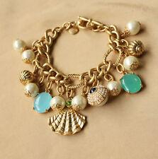 Bracelet Femme Strass Mini Perle Coquillage Bleu Original Soirée Mariage CT4