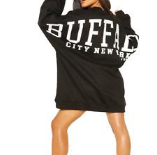 Womens Oversized Sweatshirt Dress Ladies Back Slogan Print Casual Sweat Top New