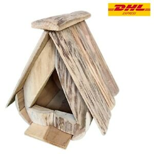 Pets House Wooden Log Cabin Bird Nest Cottage Bird Box Yard Garden DIY Decor