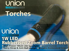 LED Torch Zoom Rubberised Pocket Black AAA Carry Strap FREE DELIVERY