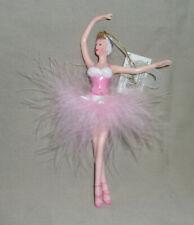 "Christmas Ornament 6"" Caucasian ballerina pink marabou feather & glitter tutu"