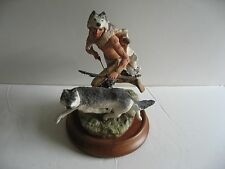 Franklin Mint Wolf Runner Porcelain Figure Sculpture-1989 Limited Edition