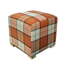 Premier Housewares Wooden Orange Footstool Home Ottoman Furniture Padded Chair
