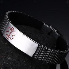 Stainless Steel Emergency Alert Bracelet Engraving Medical ID Unisex Bangle