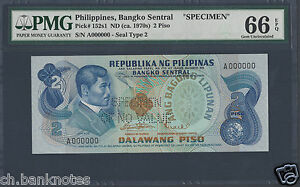 Philippines 2 Piso 1949(ND ca.1970s) P152s1 Specimen Uncirculated