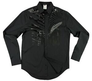 Karl PU printed shirt black