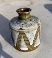 Vintage Stoneware Art Pottery Vase MCM JAPAN Speckled Weed Pot