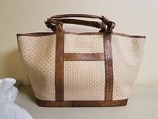 ADRIENNE VITTADINI BROWN CROCO EMBOSSED LEATHER AND WOVEN JUTE TOTE!! MUST SEE!!