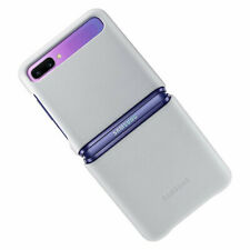 Original Samsung Leather Cover Hülle EF-VF700 für Galaxy Z Flip - Silber Silver