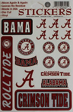 Alabama Sticker Licensed Sports 18 Decal Sheet Football Crimson Tide College