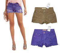 Brand New Size 6 8 10 12 Distressed Denim Shorts Purple Camel Hotpant Girls