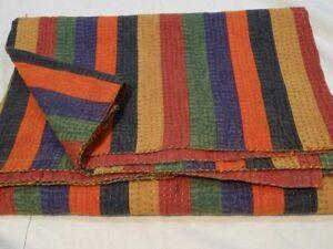 Vintage Multi Patchwork Handmade Cotton Kantha Quilt Bedspread Throw Blanket Art