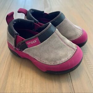Crocs Pink & Tan Suede Infant Clogs Baby Size 5 Comfort Outdoors