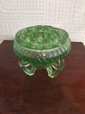 Fabulous Art Deco Green Glass Flower Arranging Bowl