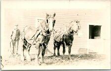 RPPC Real Photo Postcard FARM SCENE Horse Team Farmer Barn c1910s Unused