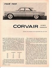 1960 CHEVROLET CORVAIR 140/80 HP ~ ORIGINAL 2-PAGE ROAD TEST / ARTICLE / AD