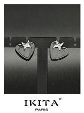 Ohrringe Keramik Ohrstecker Herz  Ikita Paris Edelstahl Schwarz/Grau Premium