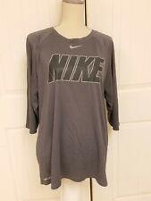 Nike Gray Men's Xl Dri Fit T-Shirt Tee Charcoal Athletic Cut Charcoal