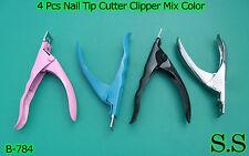 4 Pcs Nail Tip Cutter Clipper Acrylic Artificial Manicure New Mix Color,B-784