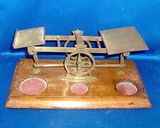 Antique UK Postal Desk Scale Brass & Oak England S. Mordan & Co. London