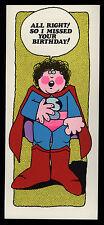 """Superman Happy Birthday Card 4"""" by 9.25 """" Jesters Unused W/Envelope 1972 NM-"""