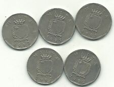HIGHER GRADE LOT 5 MALTA 50 CENTS COINS-(2)1991,(3)1992-FEB169