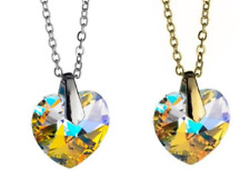12 Pcs Swarovski Crystal Aurora Borealis Heart Necklaces