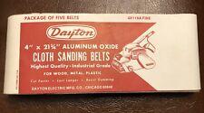 """Vtg Dayton Aluminum Oxide Cloth Sanding Belts (Fine, 4"""" x 21 3/4"""") - 5 Belts NOS"""