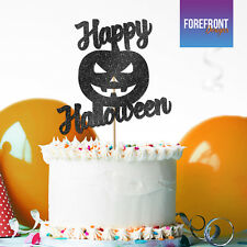 Custom HAPPY HALLOWEEN Pumpkin GLITTER CAKE TOPPER party cake decoration gift