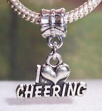 I Heart Cheering Love Cheerleading Cheerleader Dangle Bead for Charm Bracelets