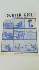 BRIAN WILSON Beach Boys SURFER GIRL Original Sheet Music 1962 Guild Music Co US