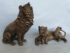 Large Bronze Lion Sitting with Lioness & Cubs Figurine/Statue * NEW * African