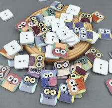 50pcs Square Owl Wooden Scrapbooking // Sewing Buttons 2 holes Crafts 15mm